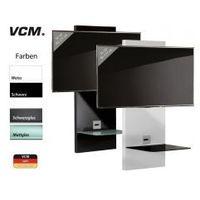 VCM uchwyt HIFI TV-Paneel Scala, z 1 szklana pólka bialy lakier / czarne szklo
