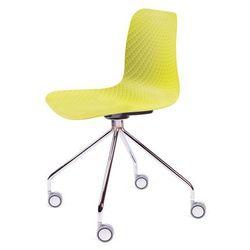 Krzesło KRADO ROLL - Zielone, nogi metalowe na kółkach.