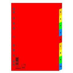 Przekładki plastikowe numeryczne DONAU A4 PP 1-10 kolorowe