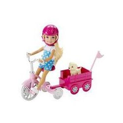 Barbie Chelsea na rowerku z pieskiem Mattel