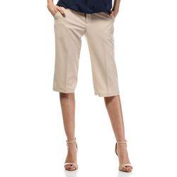 Beżowe Stylowe Spodnie do Kolan z Szerokimi Nogawkami