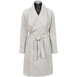 Krótki płaszcz z wykładanym kołnierzem bonprix jasnoszary melanż