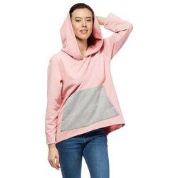 Oversizowa Różowa Bluza Kangurka z Kapturem