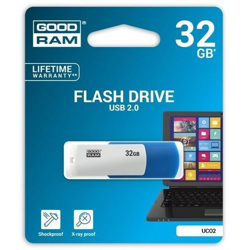 Goodram USB flash disk, 2.0, 32GB, UCO2, blue and white, UCO2-0320MXR11, wsparcie OS Win 7