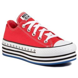 Trampki CONVERSE - Ctas Platform Layer Ox 566763C University Red/White/Black