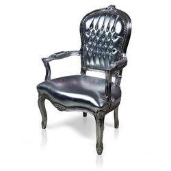 Stylowy, dekoracyjny fotel Luisa, srebrna rama, srebrne obicie z eko-skóry.