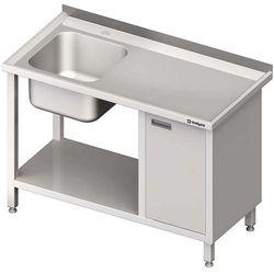 Stół ze zlewem jednokomorowym z szafką i półką STALGAST 1400x700x850 lewy