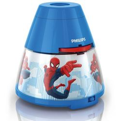 DISNEY - Lampka nocna Projektor LED Niebieski Spiderman Wys.11,8cm