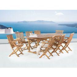 Stół ogrodowy - drewniany - rozkładany 180/220x74cm + 8 krzeseł - JAVA