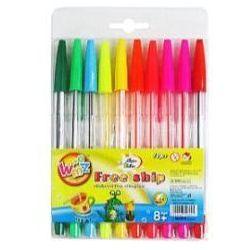 Długopisy 10 kolorów fluorescencyjne