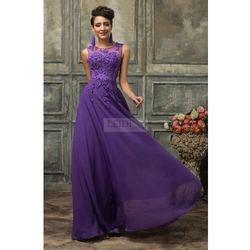 Suknia wieczorowa z perłami, fioletowa gipiura r.34 - r.54