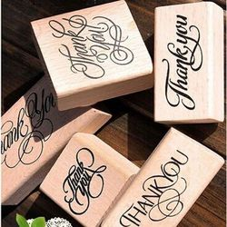 New Wooden Rectangle Stamp Rubber Craft Favour Scrapbooking Thank You Love Stamps free shipping
