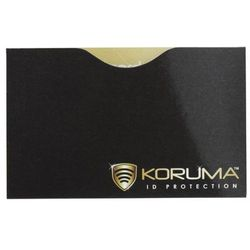 Ekranowane etui chroniące przed nieautoryzowanym odczytem kart zbliżeniowych - Poziome etui antykradzieżowe na karty zbliżeniowe (czarne, złote logo)