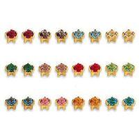 Kolczyki 113 Kpl kamieni w pazurkach kolor złoty