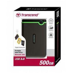 Transcend StoreJet 25 M3 500GB 2.5'' USB3.0 Black - Rubber Case, Anti-Shock DARMOWA DOSTAWA DO 400 SALONÓW !!