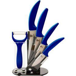 4 Elem. Zestaw Noży Ceramicznych ze Stojakiem + Obieraczka - RL-C4ST BLUE