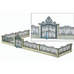 Brama pałacowa z ogrodzeniem, MBZ 80108, 51 mm x 485 mm, skala H0