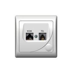 Gniazdo komputerowo-telefoniczne RJ 45, kat. 5e, (8-stykowe) + RJ 11 (6-stykowe) Ospel Efekt - Biały - GPKT-F/K/00