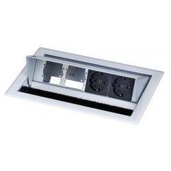 Kindermann Cableport standard 4krotny - stal szlachetna - panel stolowy pusty modul 2 x zasilanie