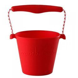 Scrunch-bucket, Zwijane wiaderko silikonowe, Czerwone