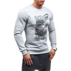 Szara bluza męska bez kaptura z nadrukiem Bolf 61S - SZARY