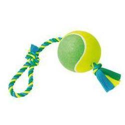 Zabawka dla zwierząt Nobby Rope Toy XXL 15cm - piłka na sznurku Niebieska/Żółta/Zielona