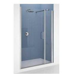 Drzwi Novellini Giada G+F 150-156 cm do wnęki z elementem stałym, lewe, profil srebrny, szkło przeźroczyste GIADNGF150S-1B