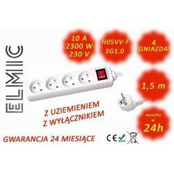 Przedłużacz elektryczny listwa z włącznikiem - 1.5 mb - WS NF 04 K / 1.5 / 1.0 / K - ELMIC biały