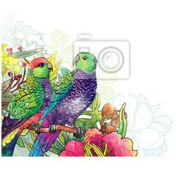 Fototapeta Papuga i kwiaty