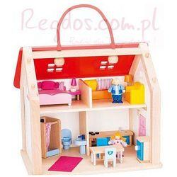 Drewniany domek z czerwonym dachem, 24 elementy
