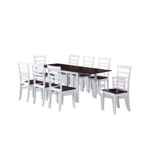 Zestaw do jadalni/kuchni rozkładany stół i 8 krzeseł w kolorze Brąz+Biel Zapisz się do naszego Newslettera i odbierz voucher 20 PLN na zakupy w VidaXL!