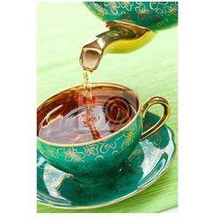 Plakat kubek herbaty w zabytkowej porcelany