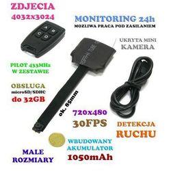Szpiegowska Mikro-Kamera (do ukrycia!) Nagrywająca Obraz+Dźwięk (3-dni Pracy!!) + Detekcja Ruchu...