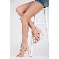 Agathe LACE UP - modnie wiązane sandały - odcienie różu