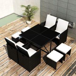 vidaXL Meble Rattanowe (Stół + 4 Krzesła Taborety) Czarne Darmowa wysyłka i zwroty
