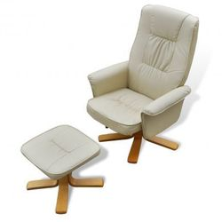 Odchylany fotel TV ze sztucznej skóry kremowo biały z podnóżkiem Zapisz się do naszego Newslettera i odbierz voucher 20 PLN na zakupy w VidaXL!