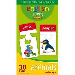 English words. Animals. Zwierzęta. Układanka edukacyjna (30 puzzli 2-elementowych)