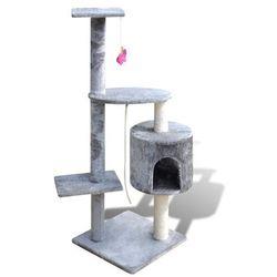 vidaXL Drapak dla kota 114 cm 1 domek, szary Darmowa wysyłka i zwroty