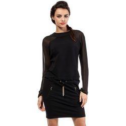 Czarna Efektowna Sukienka z Długim Szyfonowym Rękawem