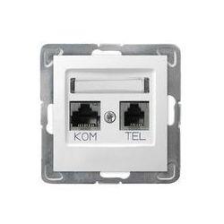 Gniazdo komputerowo - telefoniczne, MMC Ospel Impresja - Biały - GPKT-Y/K/m/00
