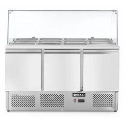 Stół chłodniczy sałatkowy 3-drzwiowy z nadstawą szklaną 4x GN 1/1 | 380L