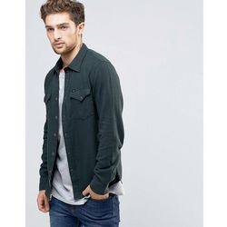 Lee Slim Western Shirt Green Herringbone - Green