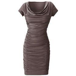 Sukienka z drapowaniem bonprix średni brąz