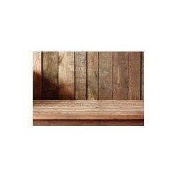 Foto naklejka samoprzylepna 100 x 100 cm - Pusty drewniany stół na tle ściany z desek