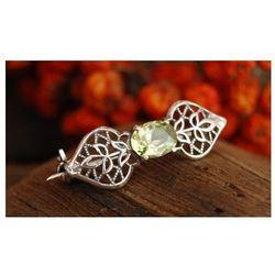 VONDA - srebrna broszka z oliwnem