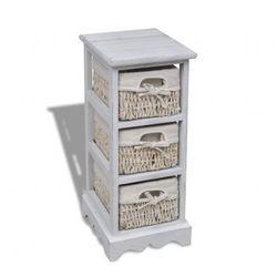 Drewniana komoda z 3 koszykami (Biała) Zapisz się do naszego Newslettera i odbierz voucher 20 PLN na zakupy w VidaXL!