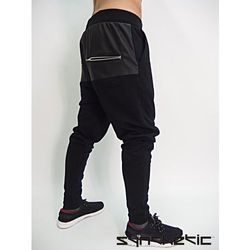 Spodnie czarne baggy skórzane wstawki