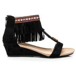 Zamszowe sandały boho Aleta - czarny