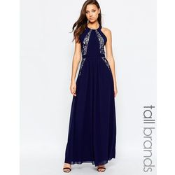 Little Mistress Tall Lace Panel Halter Maxi Dress With Open Back - Navy