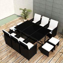 vidaXL Rattanowy komplet jadalniany, 6 foteli, 4 taborety, czarny Darmowa wysyłka i zwroty
